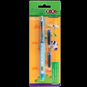 Ручка перьевая ZiBi Kids line + 2 капсулы, синий, голубой корпус