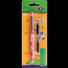 Ручка перьевая ZiBi Kids line + 2 капсулы, синий, розовый корпус