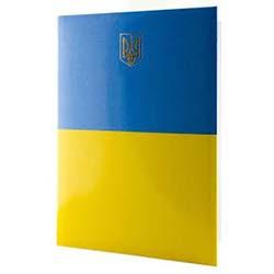 """Папка """"Герб Украины"""" Реверс А4, желто-голубая"""