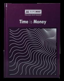 Книга канцелярская Buromax TIME IS MONEY А4, 96 листов, клетка, фиолетовая