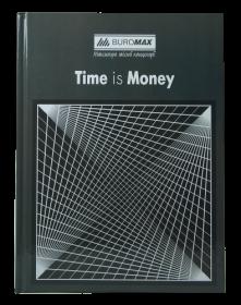 Книга канцелярская Buromax TIME IS MONEY А4, 96 листов, клетка, серая
