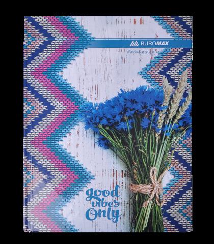 Книга канцелярская Buromax ROMANTIC А4, 96 листов, клетка, синяя