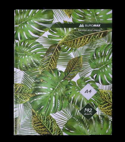 Книга канцелярская Buromax FLORISTICA А4, 192 листов, клетка, зеленая