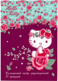 Бумага цветная двусторонняя KITE Hello Kitty А4, 15 листов, 15 цветов