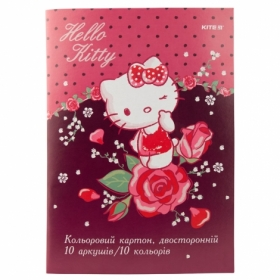 Картон цветной двусторонний KITE Hello Kitty А4, 10 листов, 10 цветов