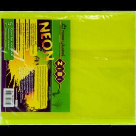 Наборобложек для тетрадей Zibi KIDS Line NEON с клапаном, 5 шт, желтый