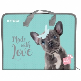 Пластиковый портфель KITI Studio Pets на молнии A4, принт
