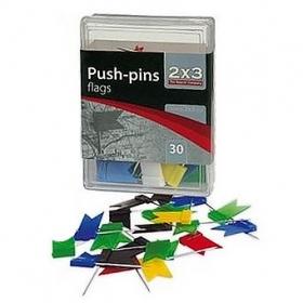 """Кнопки-гвоздики """"флажки"""" цветные, 30 шт., пластиковый контейнер"""