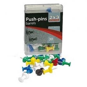 Кнопки-гвоздики цветные, 30 шт., пластиковый контейнер