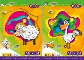 Картон цветной ZiBi KIDS Line А4, 14 листов, 7 цветов