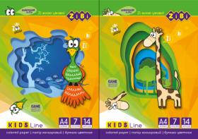 Бумага цветная Zibi KIDS Line А4, 14 листов, 7 цветов