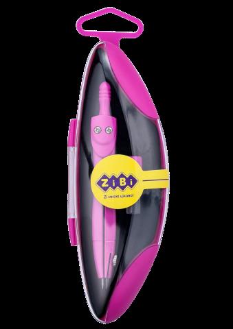 Циркуль ZiBi START NEON KIDS Line в твердом футляре, розовый