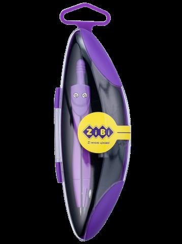 Циркуль ZiBi START NEON KIDS Line в твердом футляре, фиолетовый