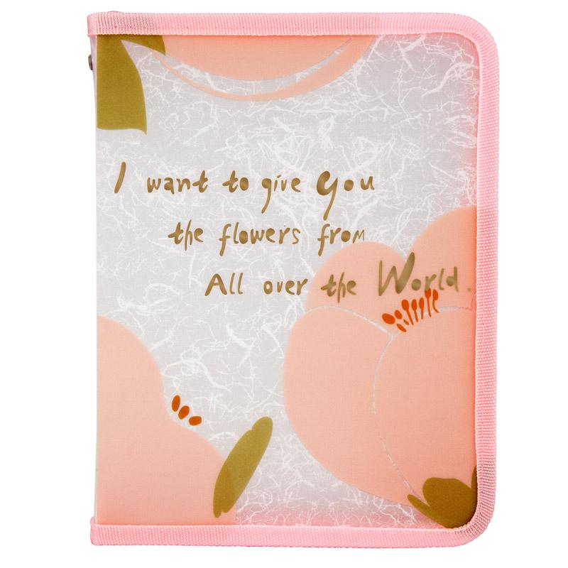 Папка на молнии Axent Fleur А5+, 180 мкм, розовая