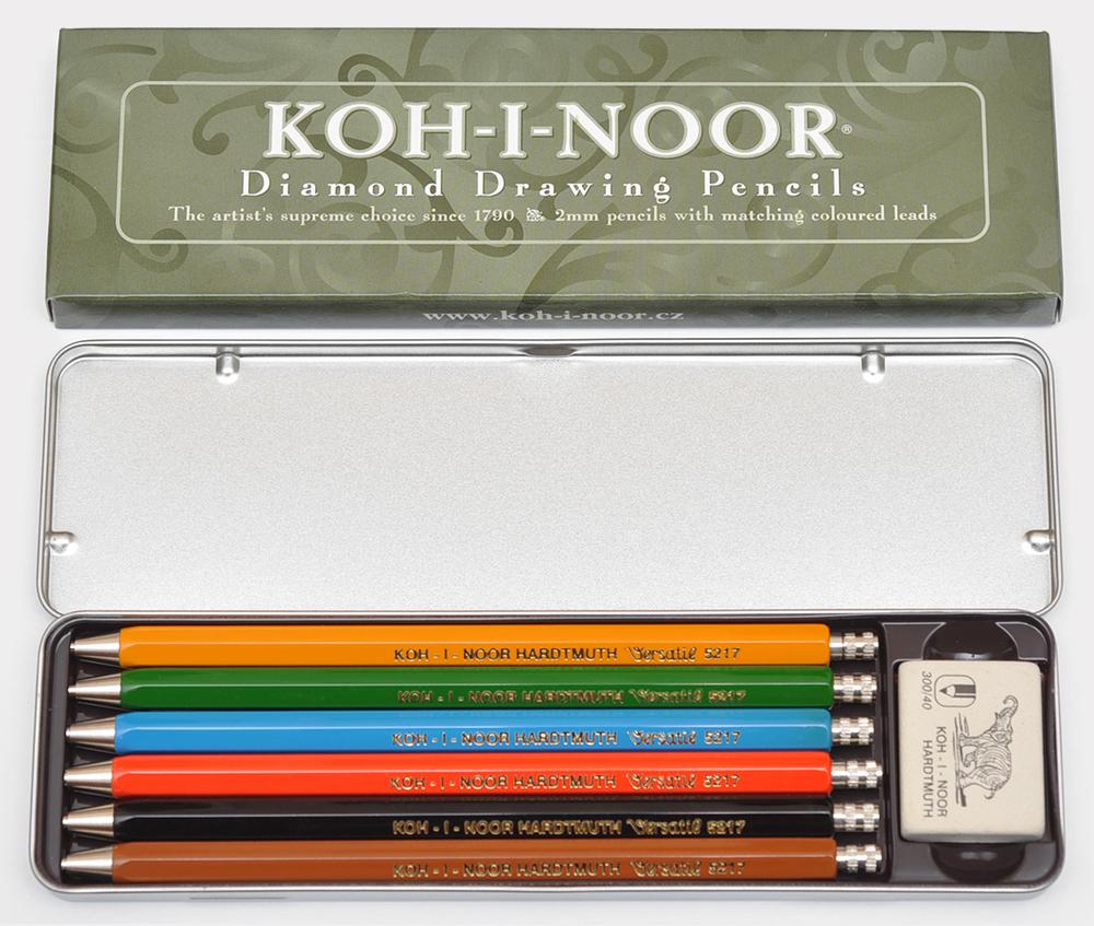 Набор цанговых карандашей с точилкой и ластиком Koh-i-Noor Diamond Pencils, 6 цветов