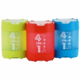 Точилка KUM 4-in-1 с контейнером, 4 отверстия, ассорти