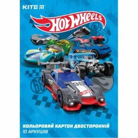 Картон цветной двусторонний KITE Hot Wheels А4, 10 листов, 10 цветов