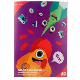 Картон цветной двусторонний KITE Jolliers А4, 10 листов, 10 цветов
