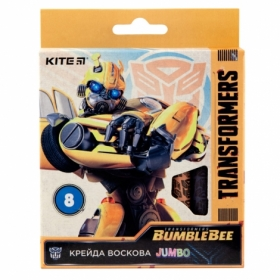 Карандаши-мелки восковые KITE Jumbo Transformers, 8 цветов