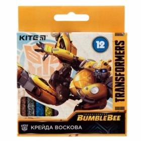 Карандаши-мелки восковые KITE Transformers, 12 цветов