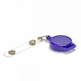 Клип-рулетка для бейджей, синяя, 50 шт