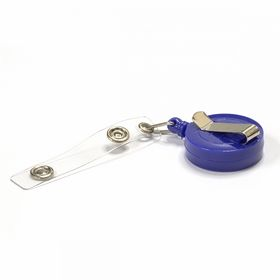 Клип-рулетка для бейджей с зажимом, синяя, 50 шт