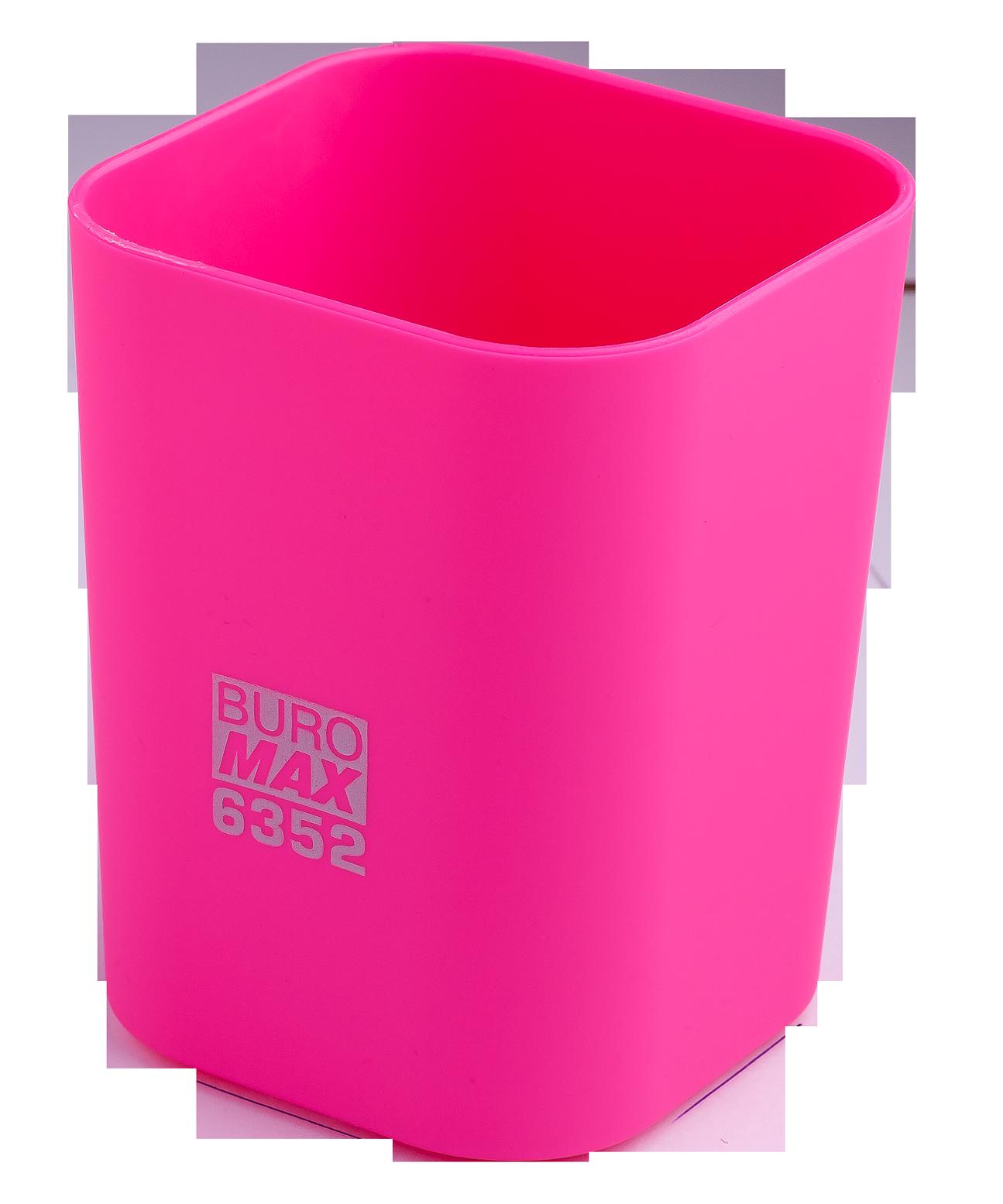 Подставка для ручекпластиковаяквадратная Buromax Ruber Touch, розовая