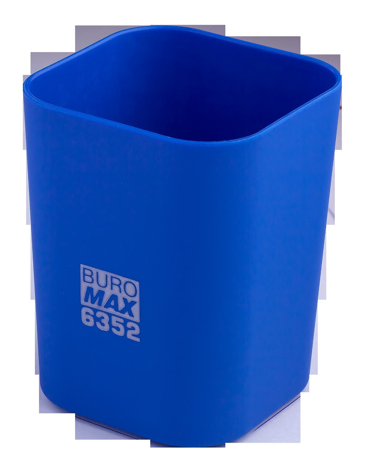 Подставка для ручекпластиковаяквадратная Buromax Ruber Touch, синяя