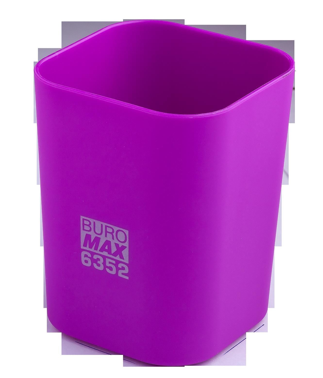 Подставка для ручекпластиковаяквадратная Buromax Ruber Touch, фиолетовая