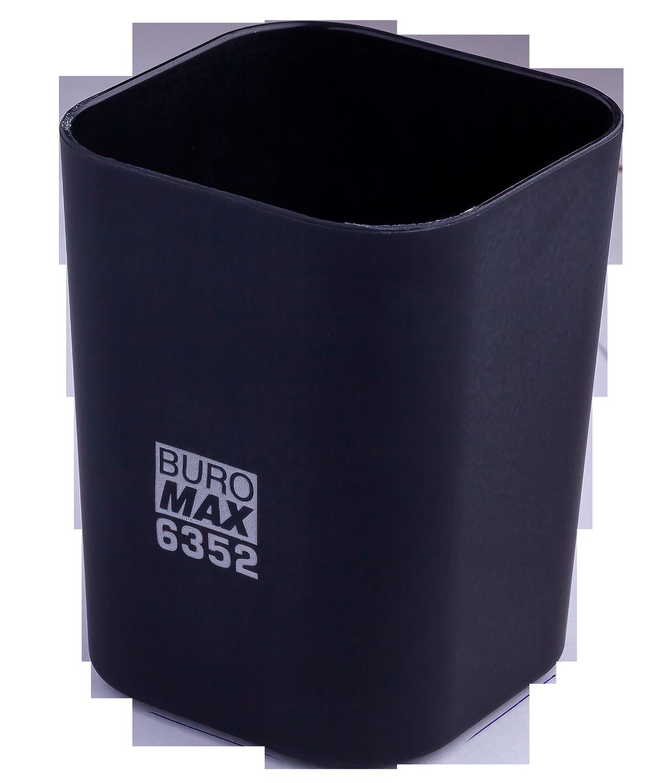 Подставка для ручекпластиковаяквадратная Buromax Ruber Touch, черная