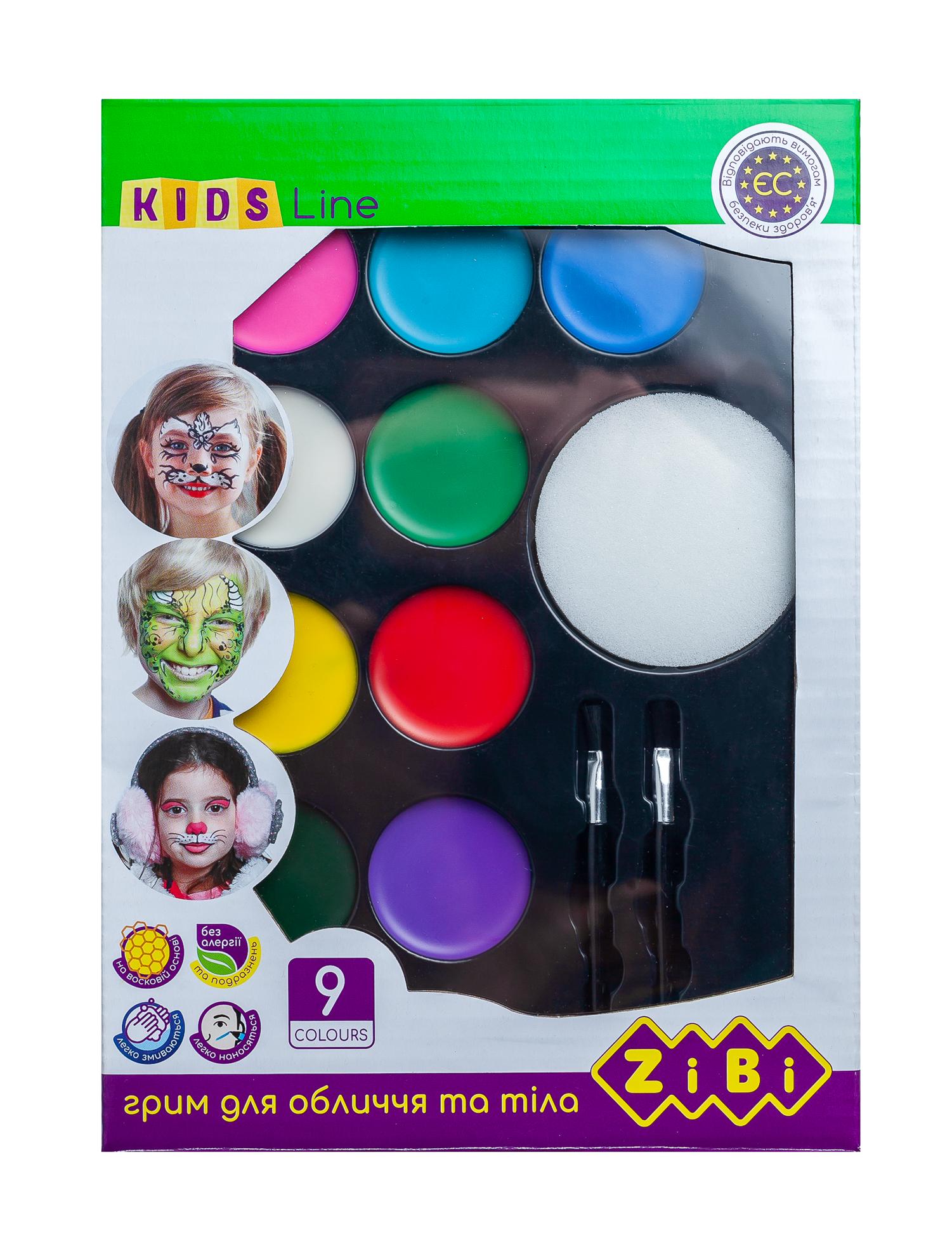 Краски для грима лица и тела Zibi KIDS Line КРЕАТИВ, с кистью, 9 цветов