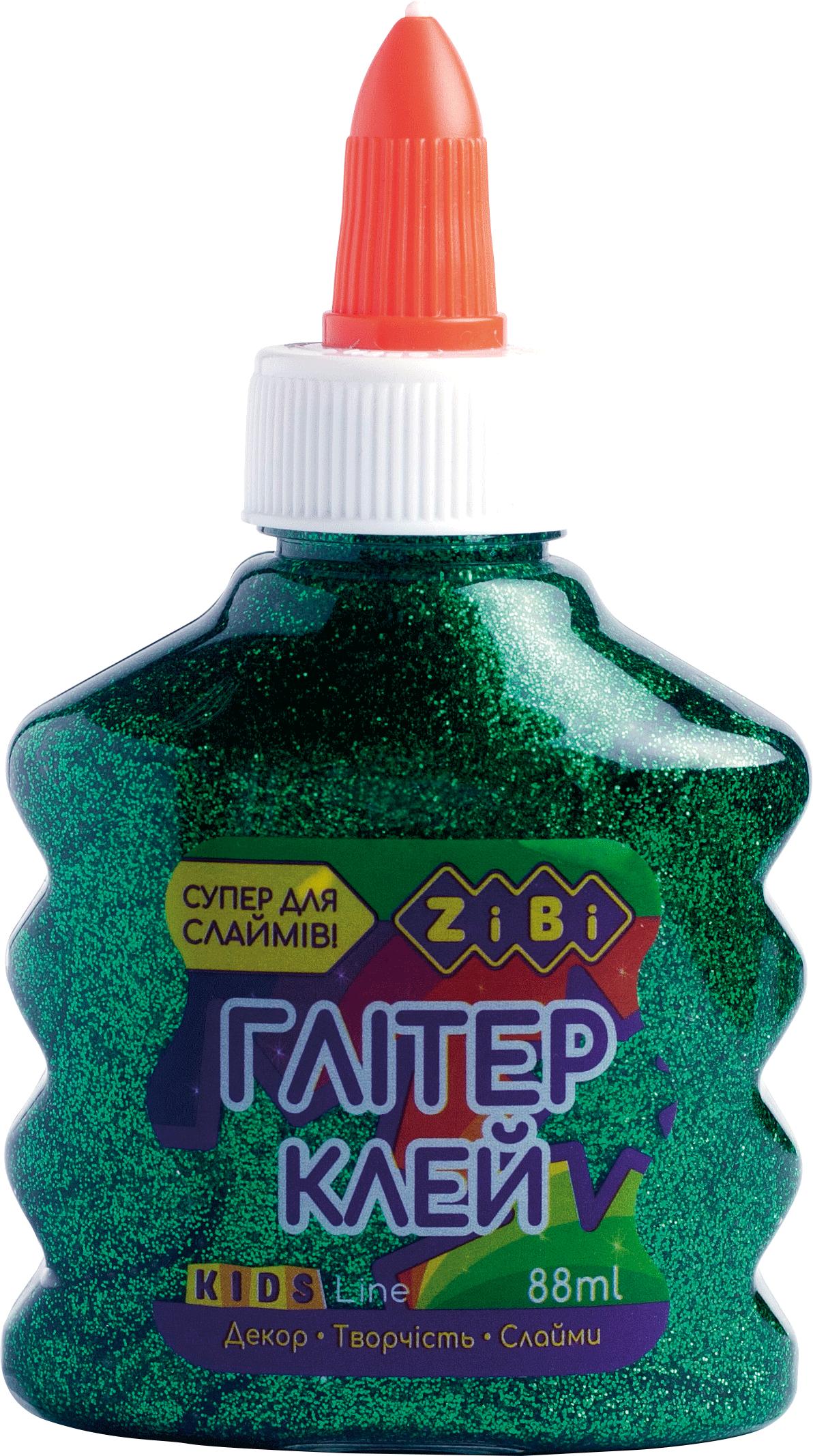 Клей ПВА для слаймов с колпачком-дозатором ZiBi ГЛИТТЕР 88 мл, зеленый
