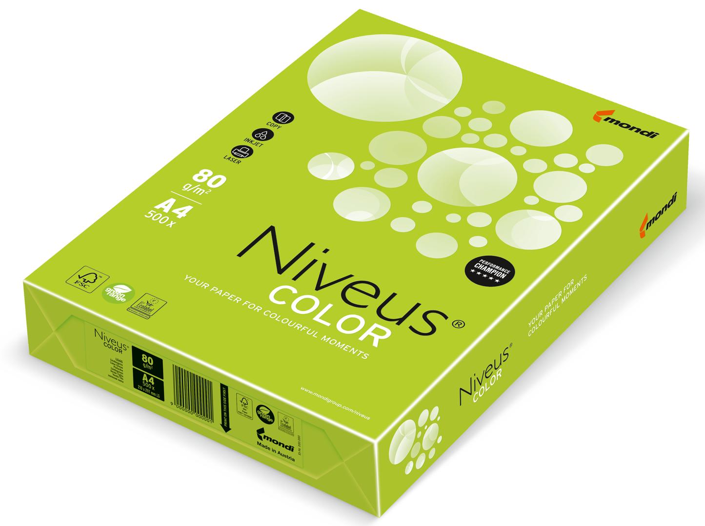 Бумага офисная цветная Niveus LG 46 А4, 80 г/м2, 500 листов, лайм