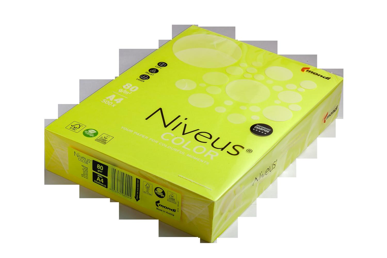 Бумага офисная цветная Niveus NEOGB А4, 80 г/м2, 500 листов, желтая