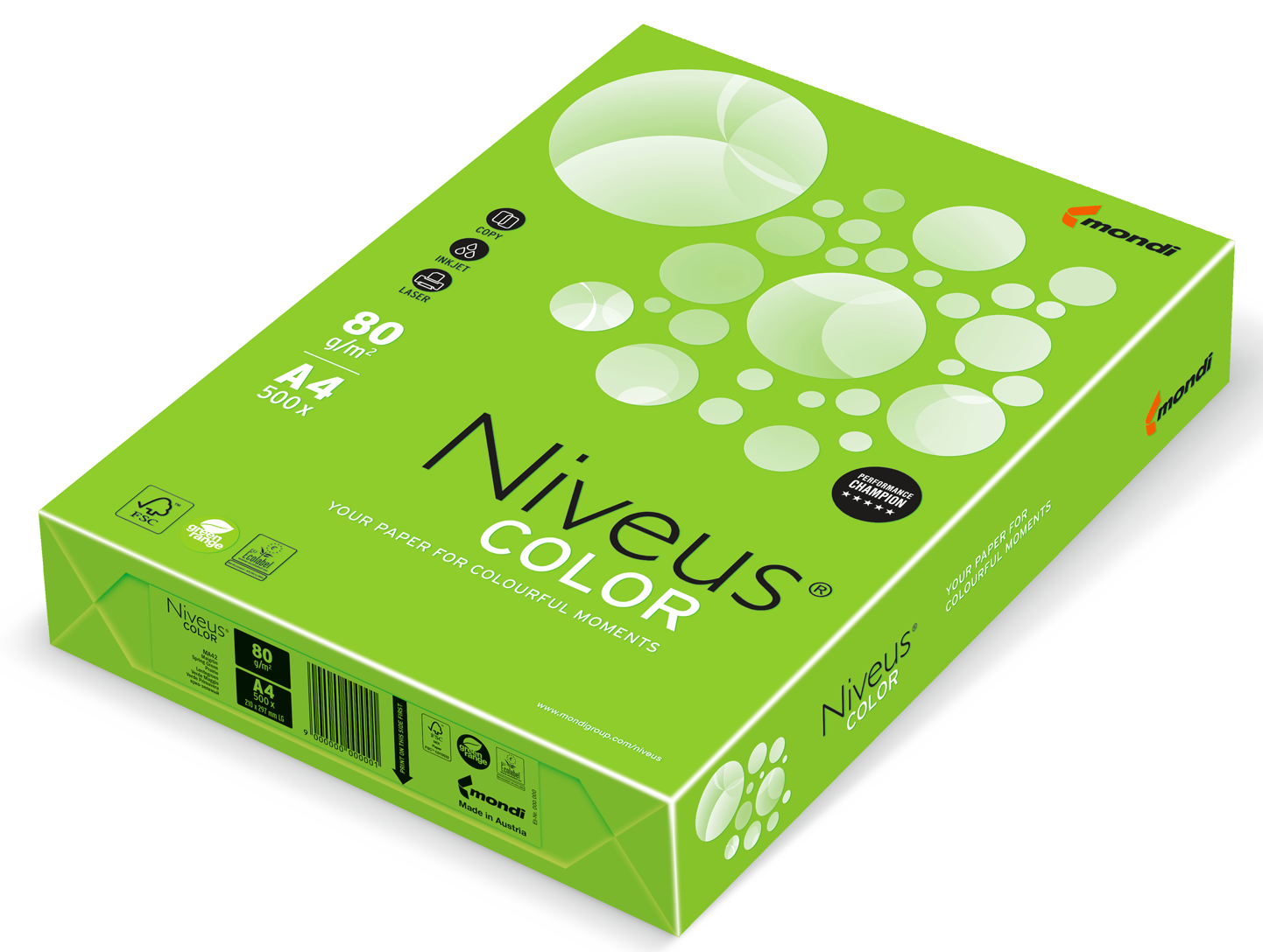 Бумага офисная цветная Niveus NEOGN А4, 80 г/м2, 500 листов, зеленая