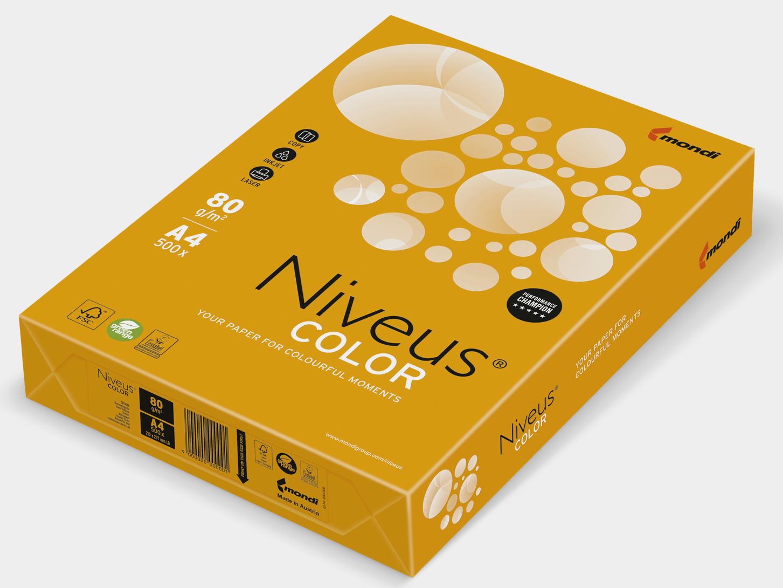 Бумага офисная цветная Niveus NEOOR А4, 80 г/м2, 500 листов, оранжевая