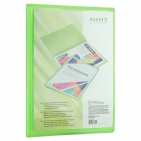 Папка с 20 файлами с карманом Axent А4, прозрачная зеленая