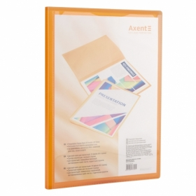 Папка с 20 файлами с карманом Axent А4, прозрачная оранжевая