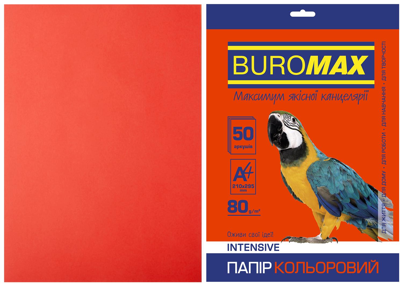 Набор цветной бумаги Buromax INTENSIVE А4, 80 г/м2, 50 листов, красный