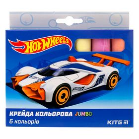 Мел цветной KITE Hot Wheels Jumbo, 6 шт