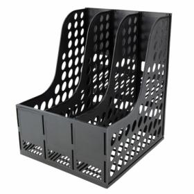 Лоток для бумаг вертикальный Axent пластиковый на 3 отделения, черный