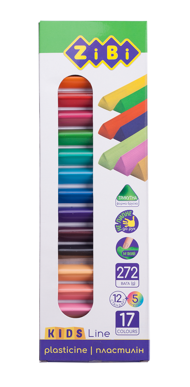 Пластилин ZiBi KIDS Line 17 цветов, 272 г