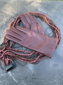 Перчатки женские кожанные ALFA 1006, размер 7, бордо