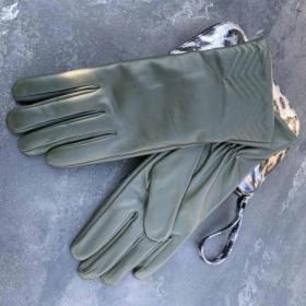 Перчатки женские кожанные ALFA 1006, размер 7, зеленые