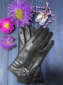 Перчатки женские кожанные ALFA 1000, размер 6.5, черные