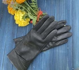 Перчатки женские кожанные ALFA 1002, размер 7, черные