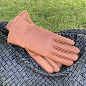 Перчатки женские кожанные ALFA 1006, размер 6.5 рыжые