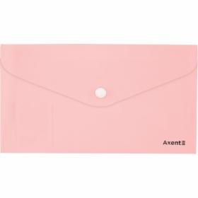 Папка-конверт на кнопкеAxent Pastelini DL,180 мкм, розовая