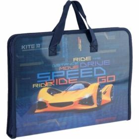 Пластиковый портфель KITE Fast Cars А4, 1 отделение