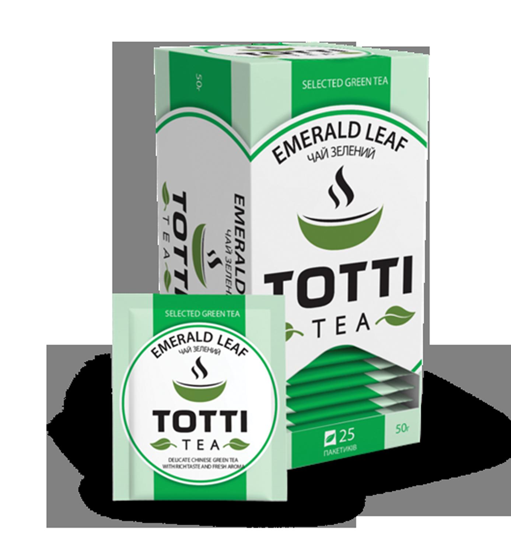 Чай зеленый TOTTI Tea «Смарагдовий лист», пакетированный, 2г, 25х32 мм